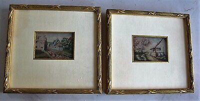 Fine Pair of 19th C. Miniature Petit Point Panels Panels in Gilt Wood Frames