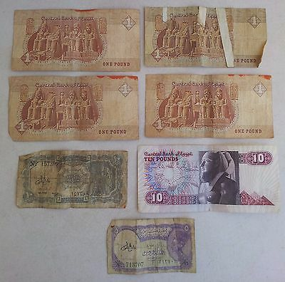 Currency Note 5 Piastres 1946 Ten Pounds Bank of Egypt Lot of 7 Money Bills