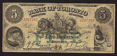 *** Canada 1929, $5 Bank of Toronto, CH-715-22-22, FINE +++ ***