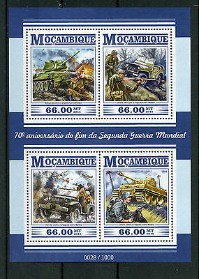 Mozambique 2015 MNH WWII Second World War II 70th Anniv End 4v M/S Tanks Jeeps