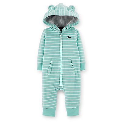 NWT Carters Baby Boys turquois Hooded Fleece Jumpsuit Clothes 6 9 12 18 24months