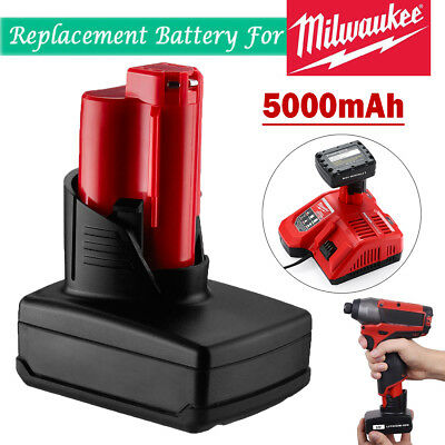 For 12v Milwaukee M12 Battery XC 5.0Ah 48-11-2440 RED Lithium Li-Ion Power Tools