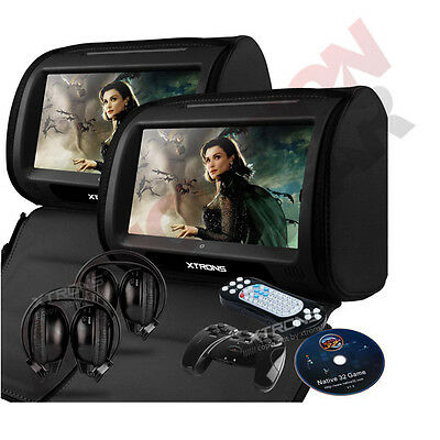 """9"""" Leather-Style Car DVD Headrests HD Touch Screen/SD/USB Headsets BMW X3/X5/X6"""