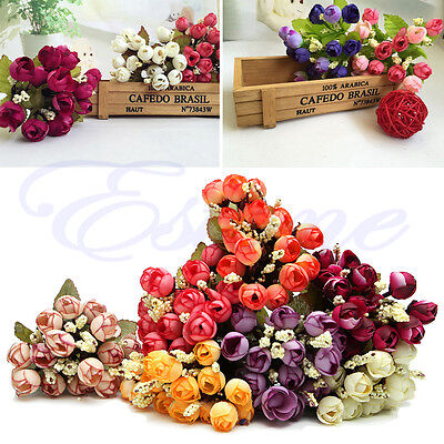 1 Bouquet 15 Tint Head Artifical Fake Rose Weeding Party Home Decor Silk Flower