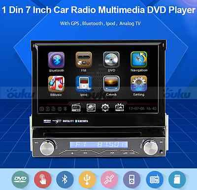 "7"" Single 1 Din GPS Navigation  In Dash Car Stereo Radio DVD Player Bluetooth TV"