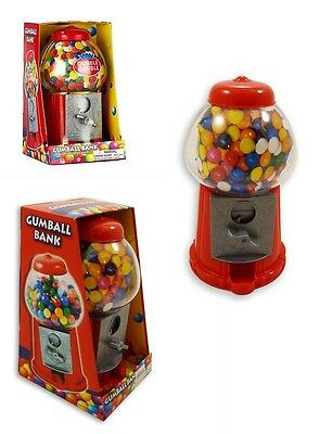 Mini Gumball Dispenser Machine Toy With Bubble Gum Party Bag Coin Opreated *New