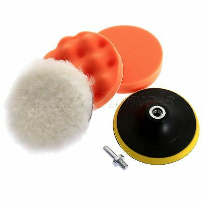 """4PC 5"""" Polishing Buffing Sponge Pads with M10 Drill Adapter Kit for Car Polisher"""