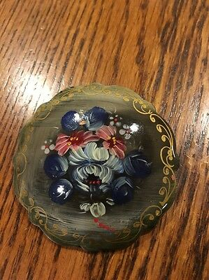 Russian Hand Painted Black Lacquer Brooch Signed & Dated 2001