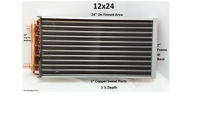 """12x24  Water to Air Heat Exchanger With 1"""" Copper ports"""