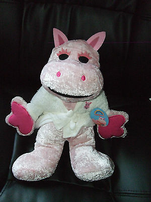 """Rainbow George Pink Soft Toy Plush Wearing Dressing Gown 14"""" New Tags"""