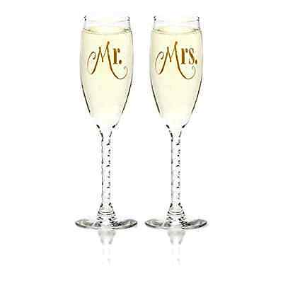 Mr. and Mrs. Gold Print Bride & Groom Glass Wedding Champagne Toast Flutes Gift