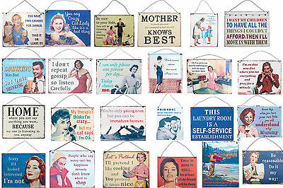 Funny Humorous Novelty Tin Metal Wall Plaques Signs Kitchen Cat Lady 24 x 19 cm