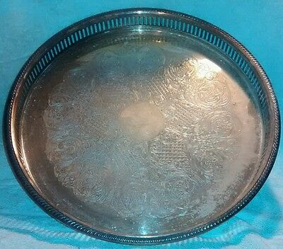 BRISTOL Silverplate By POOLE EPCA ORNATE Tri Footed Serving Tray #50 50 silver