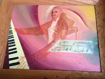 Music Painting Surreal Piano Man Ghostly 1954 Mid Century Signed D Isen