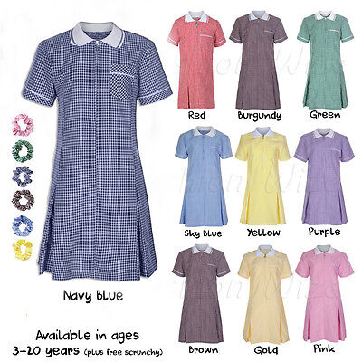 Ages 3-20 Girls School Gingham Dress Girls School Summer Dress Check Pleated