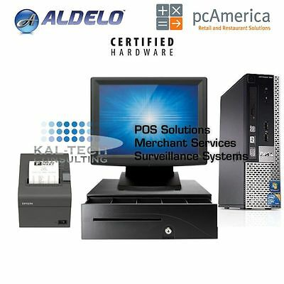 One Station Touch Screen Restaurant POS System Dell for Aldelo pcAmerica NEW