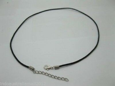 Black Real Leather Necklace String cord with Silver Clasps Connectors 49cm EB-L