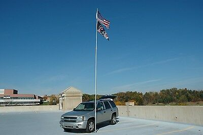 Flagpole To Go Portable 28-Foot Fiberglass Ultimate Tailgaters Fly two Flags NEW
