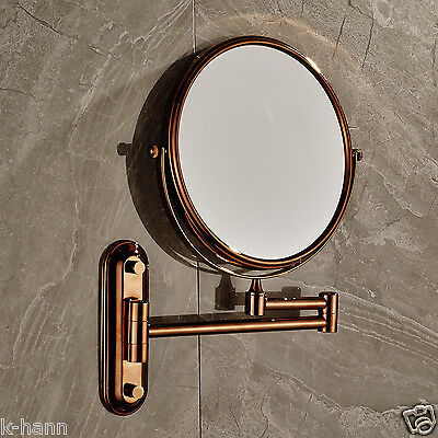 Rose Gold Finished Magnifying Bathroom Make Up Mirror With 2-Face Mirror