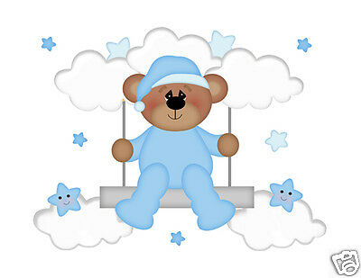 Teddy Bear Swing Mural Wall Decal Baby Boy Nursery Cloud Star Art Sticker Decor