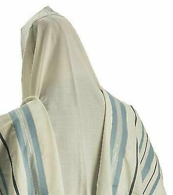 "100% Wool Tallit Prayer Shawl in Light blue silver Stripes Size 24"" L X 72"" W"