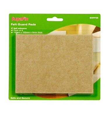 SupaFix Pack Of 2 Self Adhesive Felt Guard Pads Protector 110mm x 150mm x 5mm