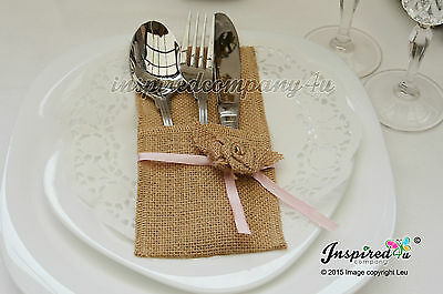 25 x Hessian Burlap Cutlery Holder Silverware Pockets Rose Ribbon Wedding Rustic