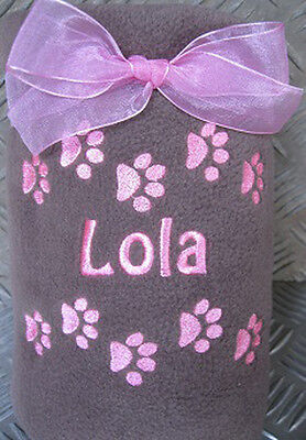 Personalised Embroidered Fleece Pet Blanket Dog Puppy Cat Kitten Pets Name