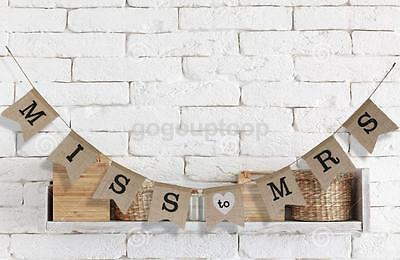 Vintage Burlap MISS TO MRS Bunting Banner for Rustic Wedding Hanging Decor