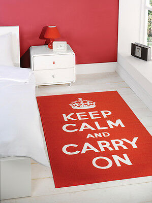 "Red & White ""Keep Calm And Carry On"" Rug 100x160cm"