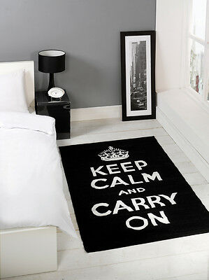 "Black & White ""Keep Calm And Carry On"" Rug 100x160cm"