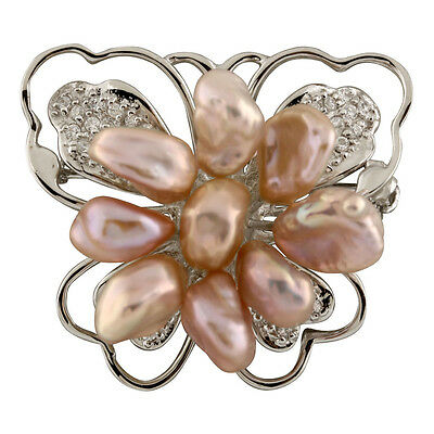 Fancy Sterling silver rhodium plated brooch 6-7mm with pink keshi pearls BR-11