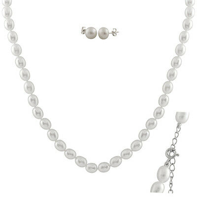 """6-6½mm white rice freshwater pearl necklace, 16"""" & matching stud earrings FGS-60"""