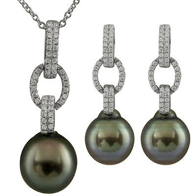 "Fancy sterling silver rhodium plated pendant/17"" chain & matching earring IFS-06"