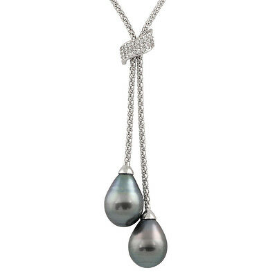 Sterling Silver lariat necklace with 9-10mm drop shape tahitian pearls IFS-02