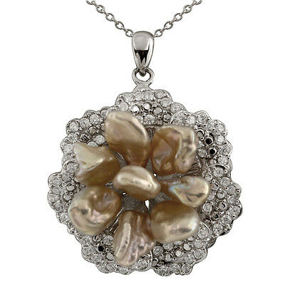 """Fancy sterling silver rhodium plated pendant/17"""" chain pink keshi pearls NSR-258"""