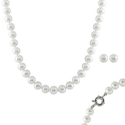 10-11mm White freshwater pearl necklace & matching button stud earrings NESR-89