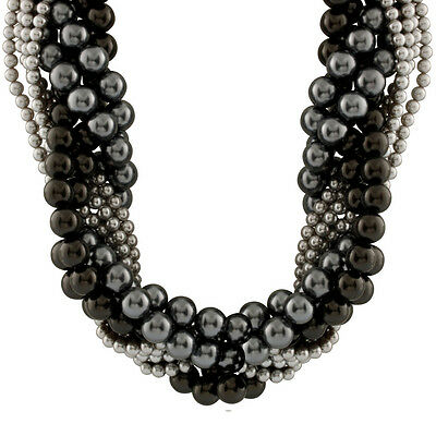 """Mixed Size, multiple row grey & peacock shell pearl braided necklace 19"""" OCM-MSD"""