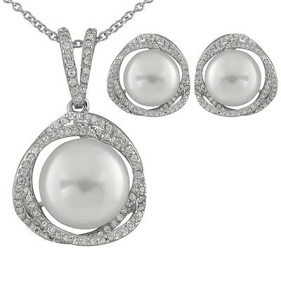 Sterling Silver pendant/17'' chain and matching earrings with pearls NESR-150