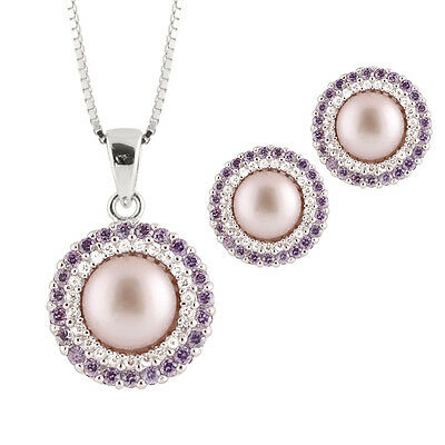 Fancy Sterling Silver pendant/chain and matching earrings, Pink pearls NESR-61