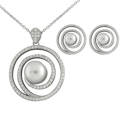 Sterling Silver pendant/17'' chain and matching earrings with pearls NESR-151