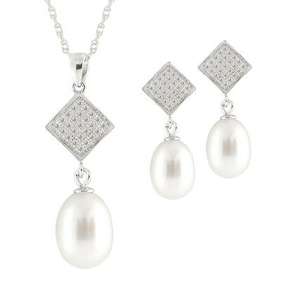 Sterling Silver pendant/18''chain, 8-9mm rice pearl & matching earrings NESR-127