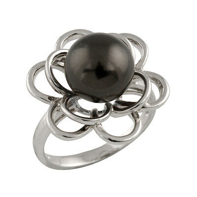 Fancy Sterling Silver ring with 10mm shell pearl OCR-02