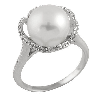 Fancy Sterling Silver ring with freshwater pearl RS-94