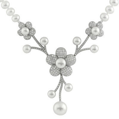 6-7mm White freshwater pearl necklace 18'', fancy Sterling Silver center NSR-226