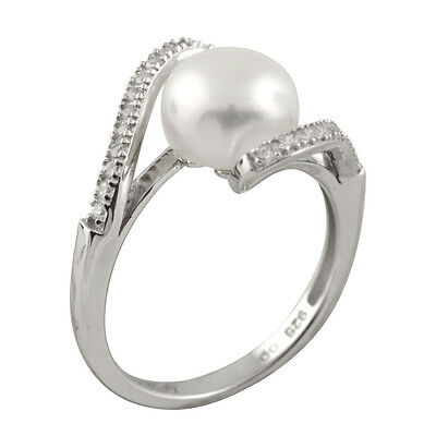 Fancy sterling silver ring with 8-9mm button shape freshwater pearls RS-158