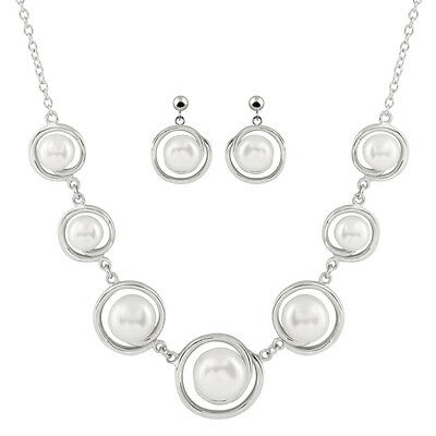 Fancy sterling silver rhodium plated necklace with matching earrings NESR-200