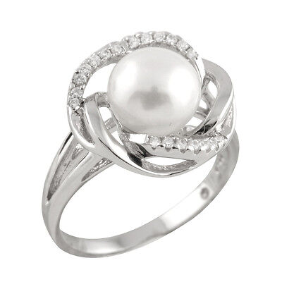 Fancy sterling silver rhodium plated ring with 8-9mm button shape pearl RS-171