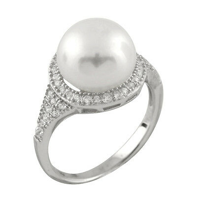 Fancy sterling silver ring with 10-11mm button shape freshwater pearls RS-161