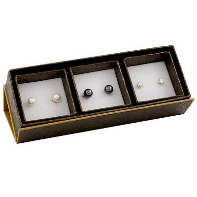 Boxed trio including: 8-8½mm white & black freshwater pearl stud earring SET-K-2